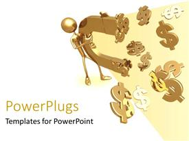 PowerPoint template displaying gold plated man carries magnet attracting dollar symbols