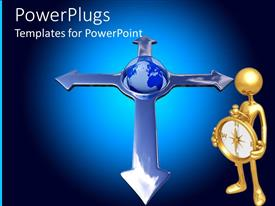 PowerPlugs: PowerPoint template with gold plated man with compass and earth globe between four arrows