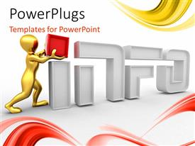 PowerPlugs: PowerPoint template with gold plated man completing 3D word INFO