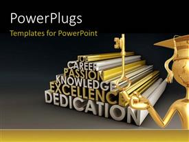 PowerPlugs: PowerPoint template with gold plated man with graduation cap holds key to career success
