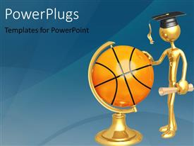 PowerPlugs: PowerPoint template with gold plated man with graduation cap and diploma touching globe