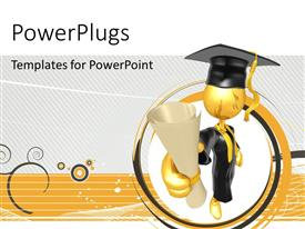 PowerPlugs: PowerPoint template with gold plated man in graduation uniform with diploma in hand