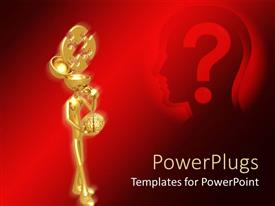 PowerPlugs: PowerPoint template with gold plated man holding brain in hand with question mark signinin backbackground bg