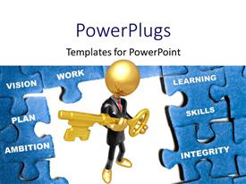 PowerPoint template displaying gold plated man holding key stands in middle of blue puzzle