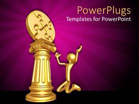 PowerPlugs: PowerPoint template with gold plated man kneels before jigsaw puzzle on gold pillar