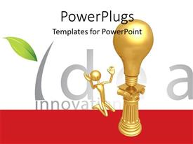 PowerPlugs: PowerPoint template with gold plated man kneels before gold bulb on pillar depicting idea