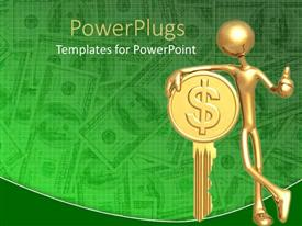 PowerPlugs: PowerPoint template with gold plated man leaning against golden key with dollar sign
