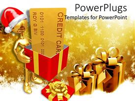 PowerPoint template displaying gold plated man making Christmas delivery with gift boxes and ribbons