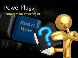 PowerPlugs: PowerPoint template with gold plated man reading question book and blue key on computer keyboard