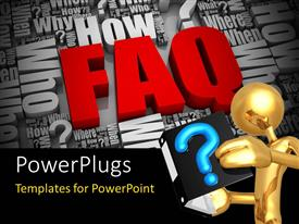 PowerPlugs: PowerPoint template with gold plated man reads from book with blue question mark symbol depicting FAQ