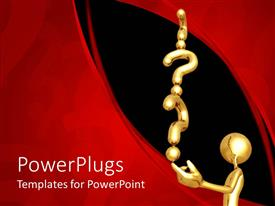 PowerPlugs: PowerPoint template with gold plated man with series of question mark signs on black and red background