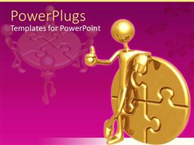 PowerPlugs: PowerPoint template with gold plated man showing thumbs up beside gold puzzle coin