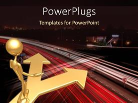 PowerPlugs: PowerPoint template with gold plated man stands at crossroad plated in gold and contemplates
