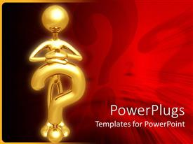 Presentation enhanced with gold plated man stands and rests hands on gold question mark symbol