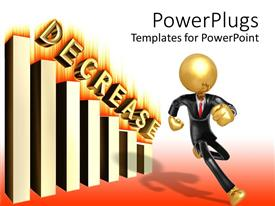 PowerPoint template displaying gold plated man in suit running from descending bar chart on fire