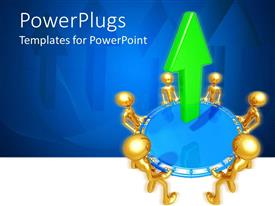 PowerPlugs: PowerPoint template with gold plated men join hands to lift blue circle with green arrow