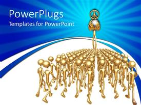 PowerPlugs: PowerPoint template with gold plated men look up to man carrying earth globe in hand