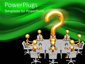 PowerPlugs: PowerPoint template with gold plated men sit with large question mark symbol on conference table
