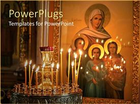 PowerPlugs: PowerPoint template with gold plated painting of four holy women on wall with lighted candles