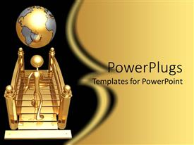 PowerPlugs: PowerPoint template with gold plated three dimensional man walking towards earth globe