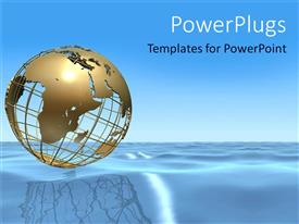 PowerPoint template displaying gold plated wire worked earth globe sitting on blue ocean