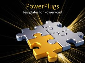 PowerPlugs: PowerPoint template with gold puzzle piece connects silver pieces on black background