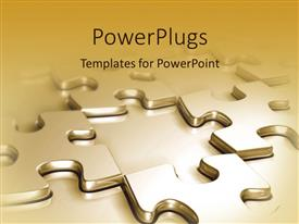 PowerPlugs: PowerPoint template with gold puzzle pieces in checkerboard pattern