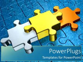PowerPlugs: PowerPoint template with gold puzzle pieces as a metaphor first second and third place stand out through success on a blue background