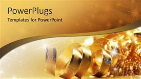 PowerPlugs: PowerPoint template with gold ribbon with shiny stars and wave