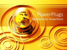 PowerPlugs: PowerPoint template with gold rings around transparent globe, concentric circles