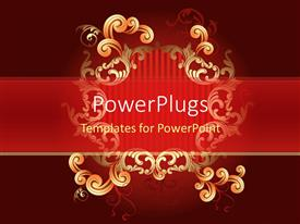 PowerPlugs: PowerPoint template with gold scroll graphic with red stripes, burgundy background, formal