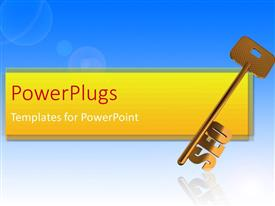 PowerPlugs: PowerPoint template with gold Search Engine Optimization skeleton key on blue background