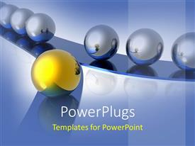 PowerPlugs: PowerPoint template with gold and silver balls as a metaphor for a way to stand out with ideas on a blue background