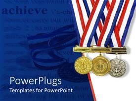 PowerPlugs: PowerPoint template with gold, silver and bronze achievement medals on a white and blue background