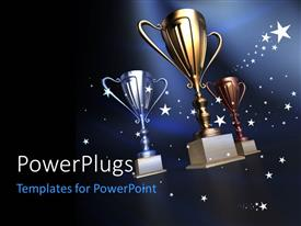 PowerPlugs: PowerPoint template with gold silver and bronze cups on a dark blue background