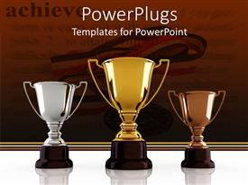 PPT theme enhanced with gold, silver and bronze winning trophies sitting on the white background