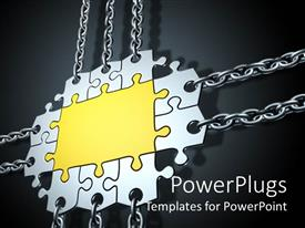 PowerPlugs: PowerPoint template with gold and silver jigsaw puzzle with chains attached to border pieces