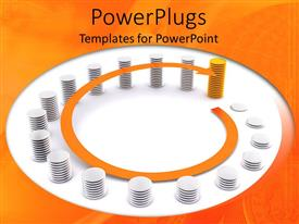 PowerPlugs: PowerPoint template with gold and silver stack of coins with a spinning yellow arrow