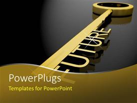PowerPlugs: PowerPoint template with gold skeleton key with three dimensional word Future