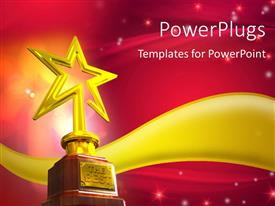 PowerPlugs: PowerPoint template with gold star trophy placed over a golden wave with glowing stars and flares on red glowing background