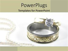 PowerPlugs: PowerPoint template with gold wedding band and diamond engagement ring on white background with pearl necklace
