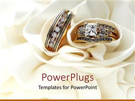 PowerPlugs: PowerPoint template with gold wedding bands wedding rings with diamonds on white soft material