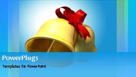 PowerPoint template displaying gold wedding bell tied with red ribbon on blue surface - widescreen format