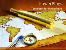PowerPlugs: PowerPoint template with gold and white colored map with a compass on a brown surface