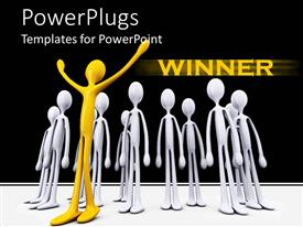 PowerPlugs: PowerPoint template with gold winner celebrating with silver losers, success metaphor, competition, business