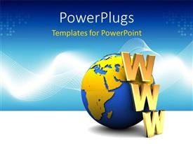 PowerPlugs: PowerPoint template with gold WWW acronyn leaning on earth globe with abstract background