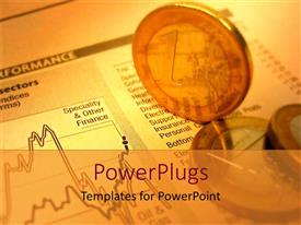 PowerPlugs: PowerPoint template with golden 1 Euro coins on financial report sheet