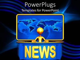 PowerPoint template displaying golden 3D figure presenting news with yellow word news and plain world map in the background