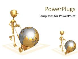 PowerPoint template displaying golden 3D men push earth globe in delivery cart over white background