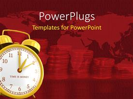 PowerPlugs: PowerPoint template with a clock with a lot of coins in the background